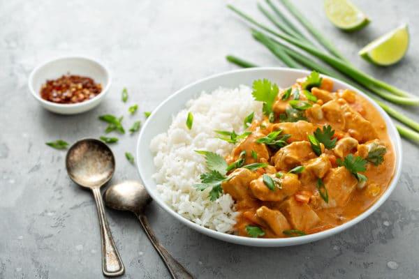 poulet curry et riz